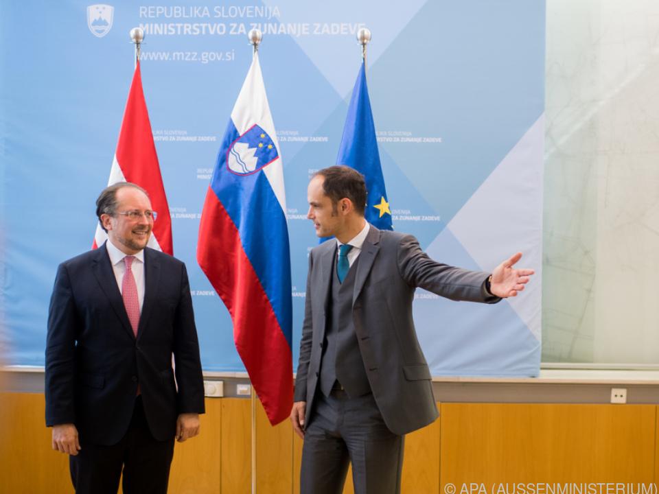 Außenminister Anze Logar mit seinem Amtskollegen Schallenberg