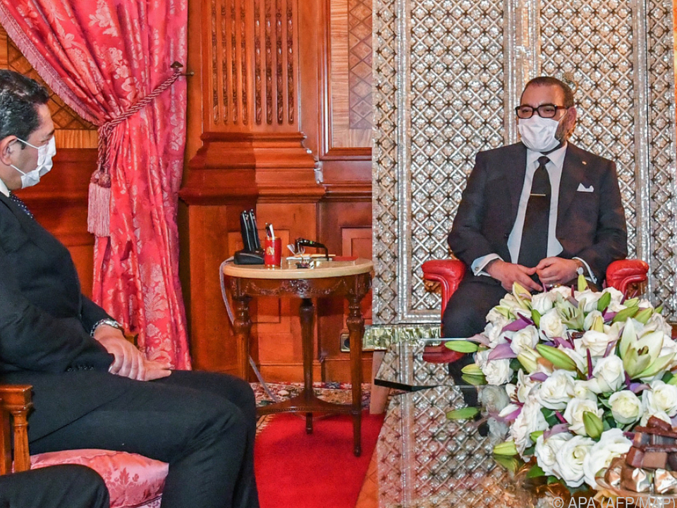 König Mohammed VI mit Schutzmaske