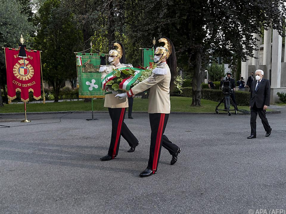 Staatschef Mattarella legte einen Kranz nieder