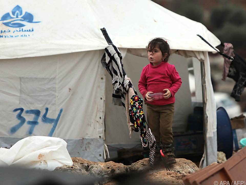 Zeltlager für syrische Flüchtlinge in Idlib