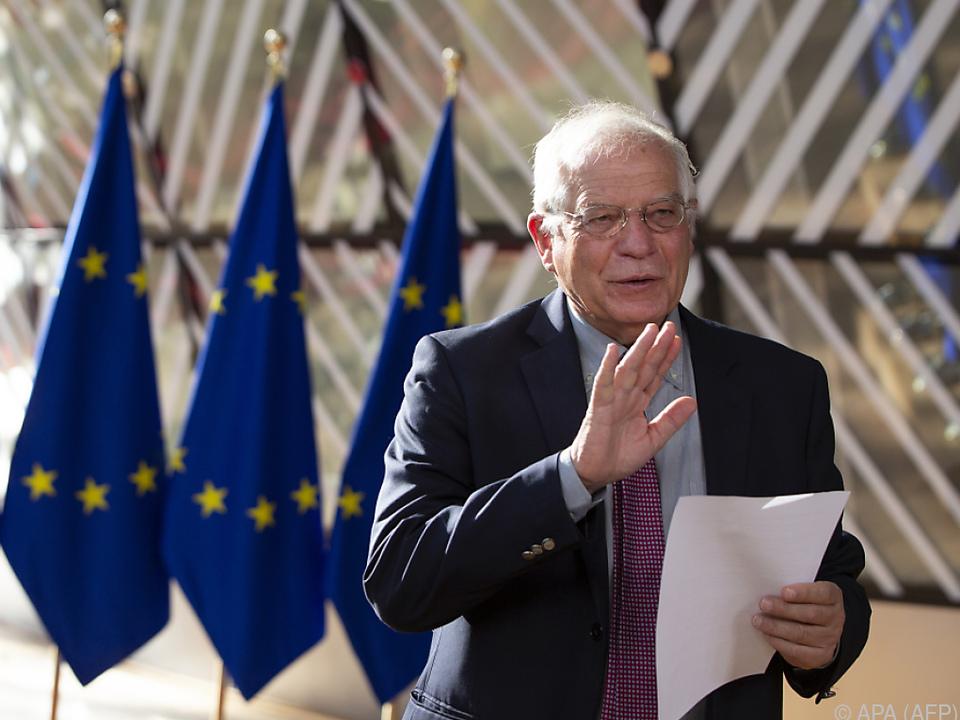 Der EU-Außenbeauftragte Josep Borrell vor dem Treffen
