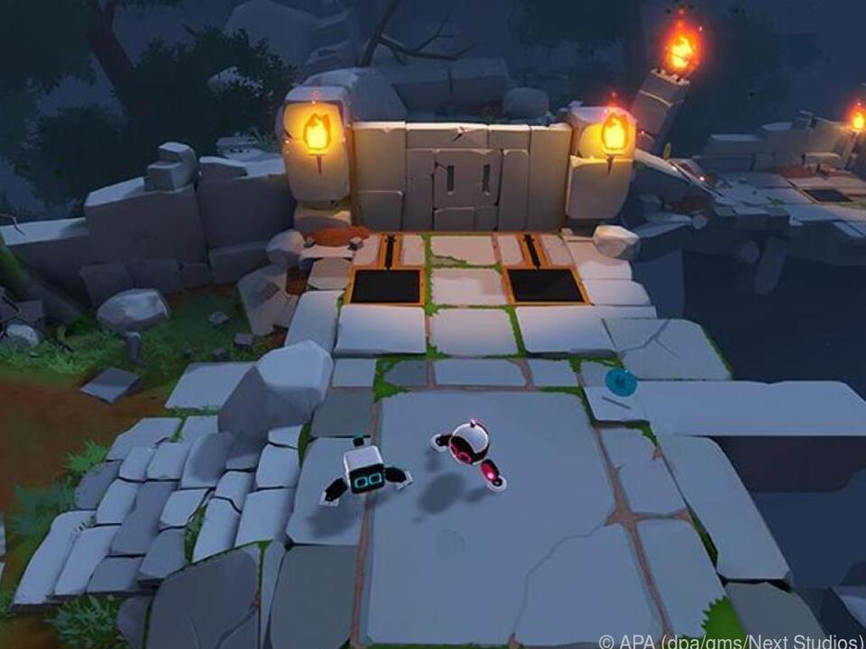 Die Roboter-Helden müssen unter anderem diese gefährliche Ruinen durchqueren