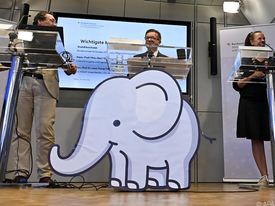 Gesundheitsminister Rudolf Anschober (M.) hat Babyelefant wiederbelebt