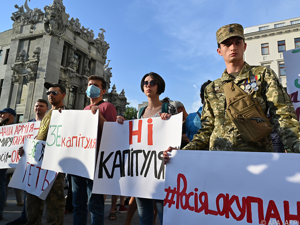 In Kiew protestierten Nationalisten gegen die neue Waffenruhe