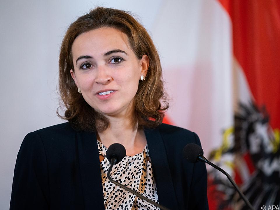 Justizministerin Alma Zadic spricht mit EU-Amtskollegen