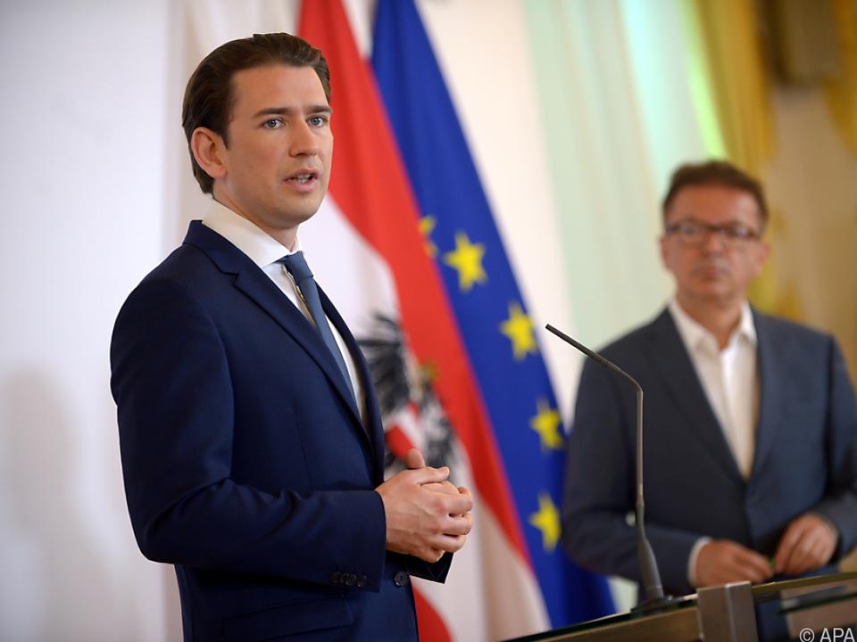 Kanzler Kurz und Minister Anschober nach dem Ministerrat