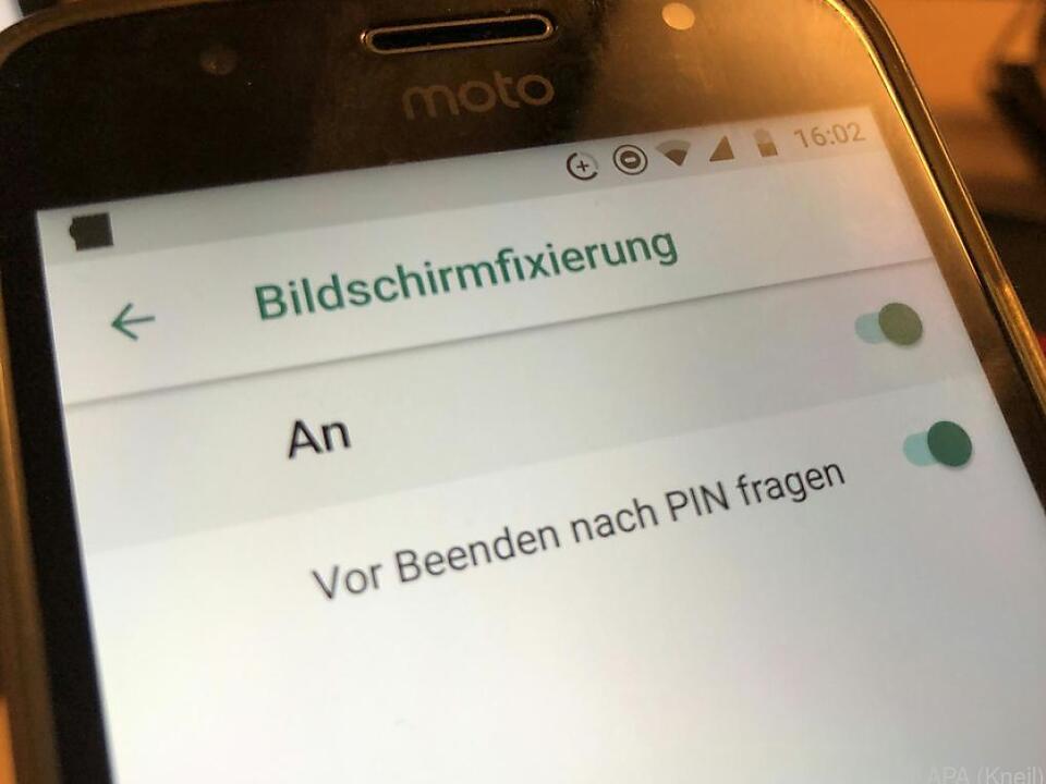 Mit der Bildschirmfixierung wird das Smartphone \