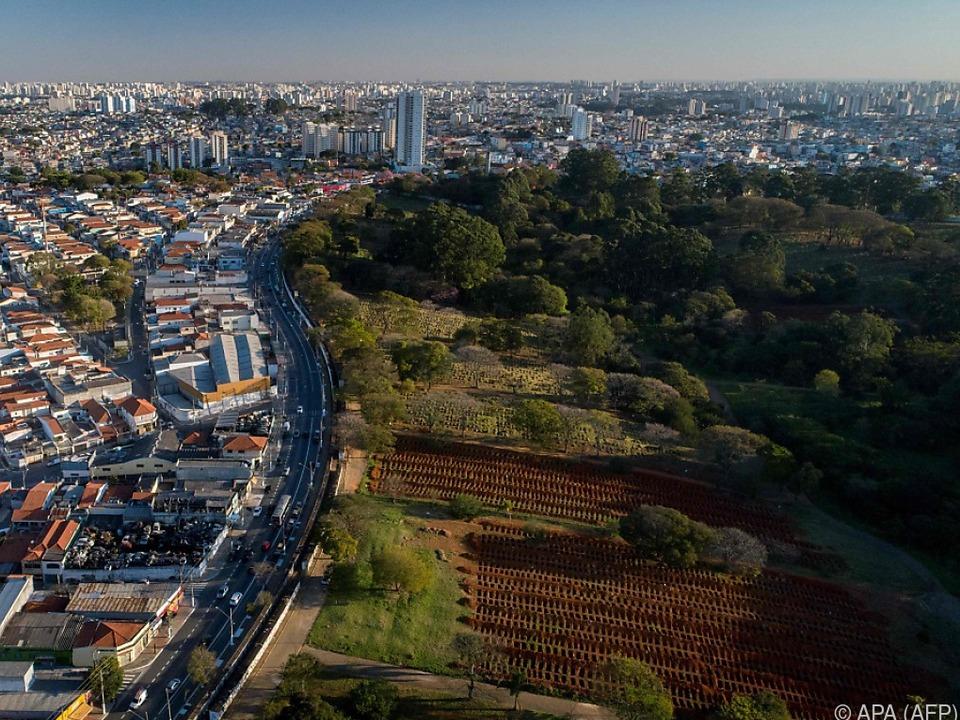 Rechts im Bild Corona-Massengräber am Stadtrand von Sao Paulo