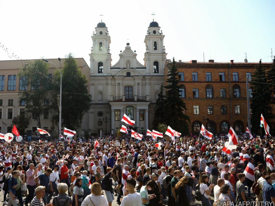 Kundgebung von Anhängern der Opposition in Minsk
