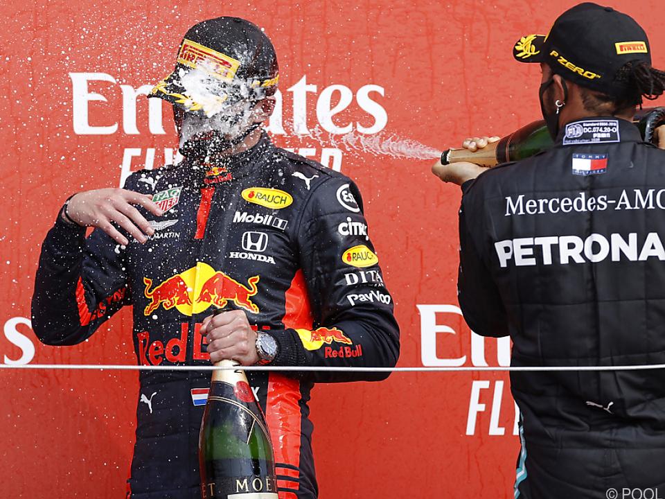 Verstappen (links) zelebriert seinen GP-Sieg