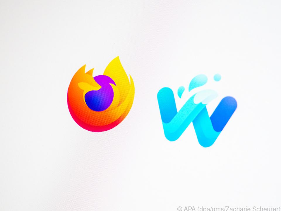 Zwei wie Feuer und Wasser: Links das Firefox-Logo, rechts das von Waterfox