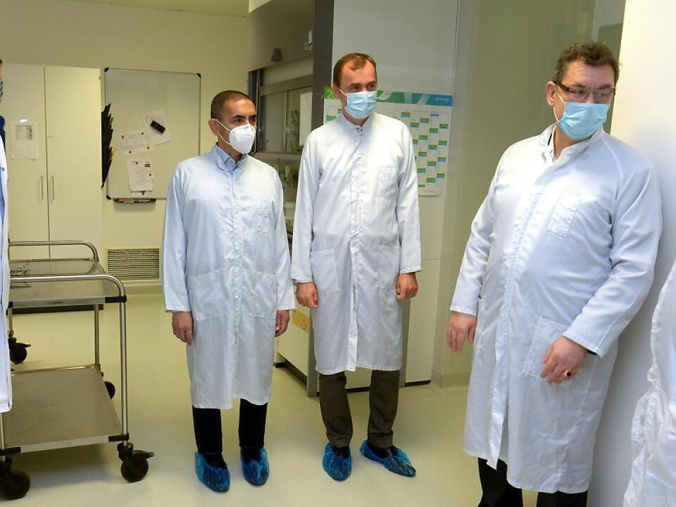 Andreas Wagner, Ugur Sahin, Dietmar Katinger und Albert Bourla (v.l.)