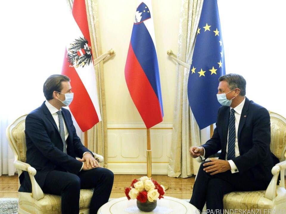 Bundeskanzler Kurz wurde von seine Amtskollegen Jansa empfangen