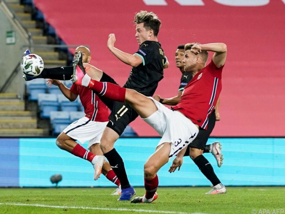 ÖFB-Stürmer Michael Gregoritsch bei spektakulärem 1:0 gegen Norwegen