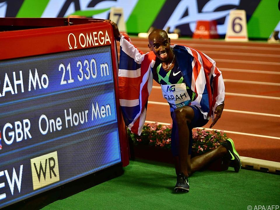 Vierfach-Olympiasieger Mo Farah lief in Brüssel Stunden-Weltrekord