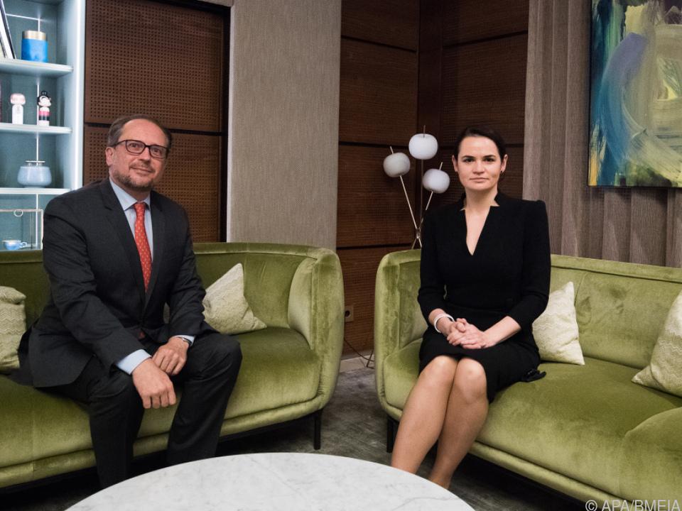 Außenminister Schallenberg traf die Oppositionelle Tichanowskaja