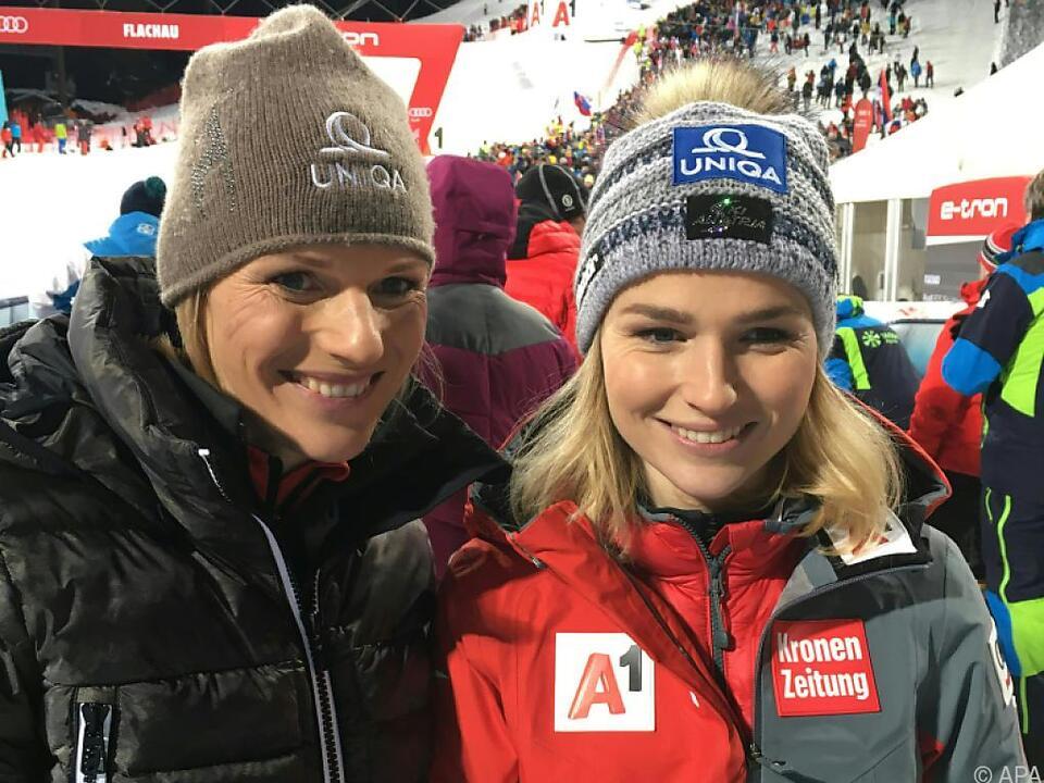 Bernadette Schild mit Schwester Marlies im Jänner in Flachau