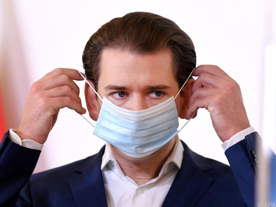 Bundeskanzler Kurz mit Maske zum Schutz vor Corona
