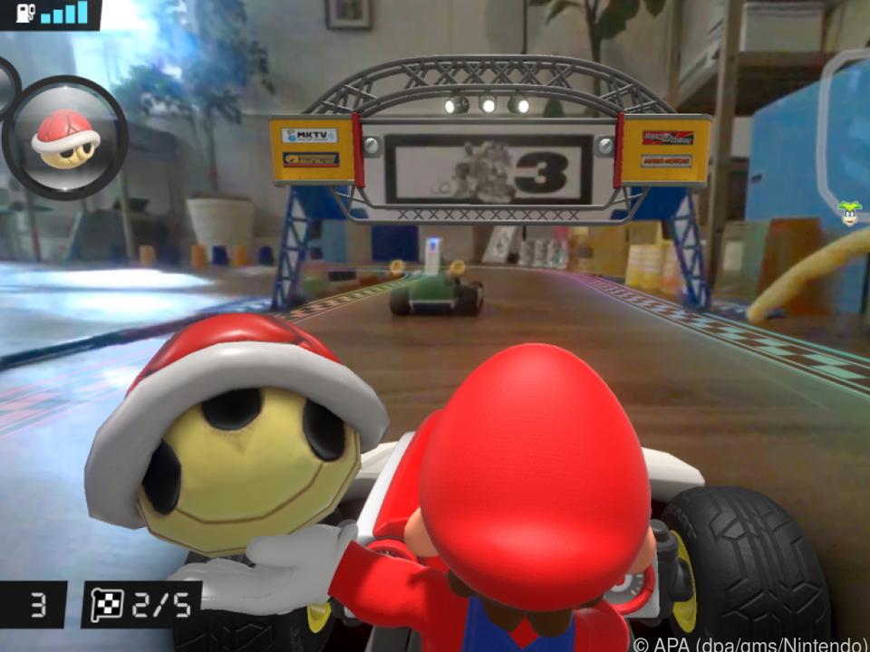Natürlich sammelt auch der motorisierte Super-Mario Power-Ups