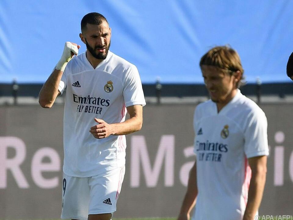 Die Real Madrid-Stars Benzema und Modric beim Torjubel