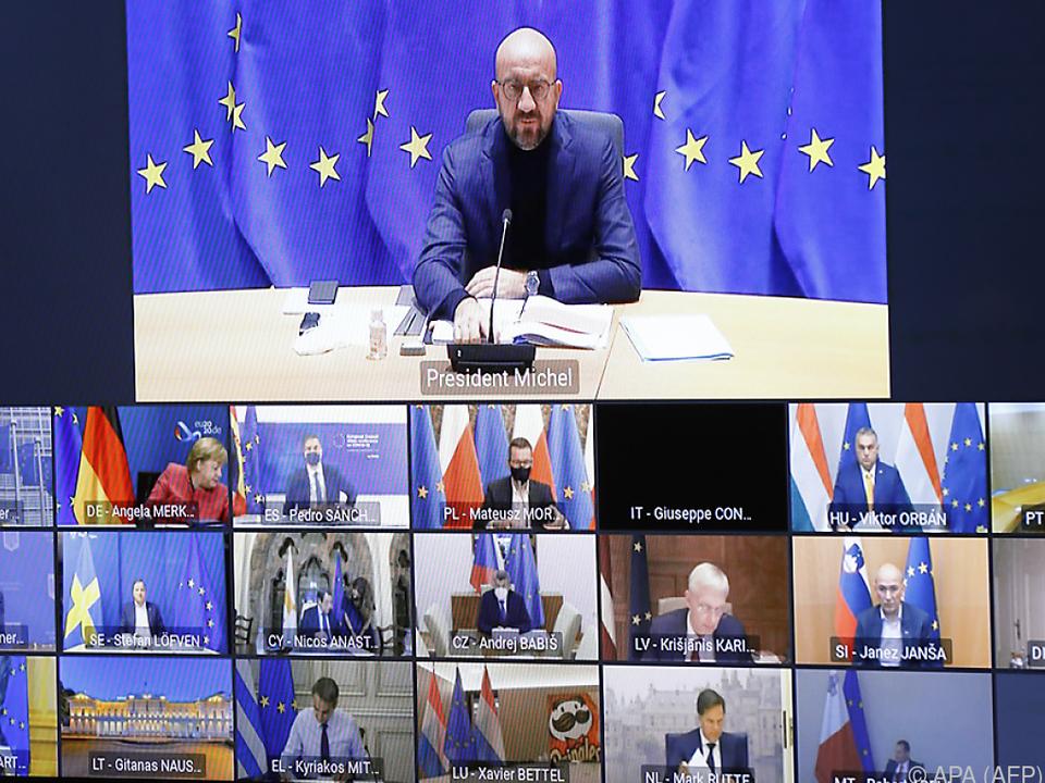 EU-Ratspräsident Charles Michel spricht mittels Videoschaltung
