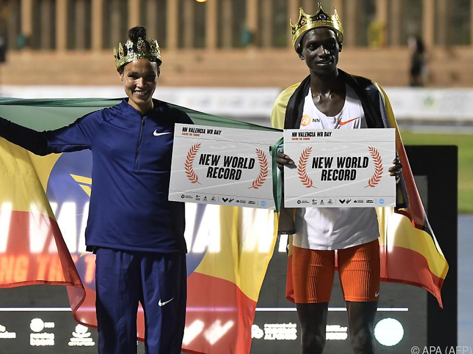 Neue Weltrekordler Letesenbet Gidey und Joshua Cheptegei