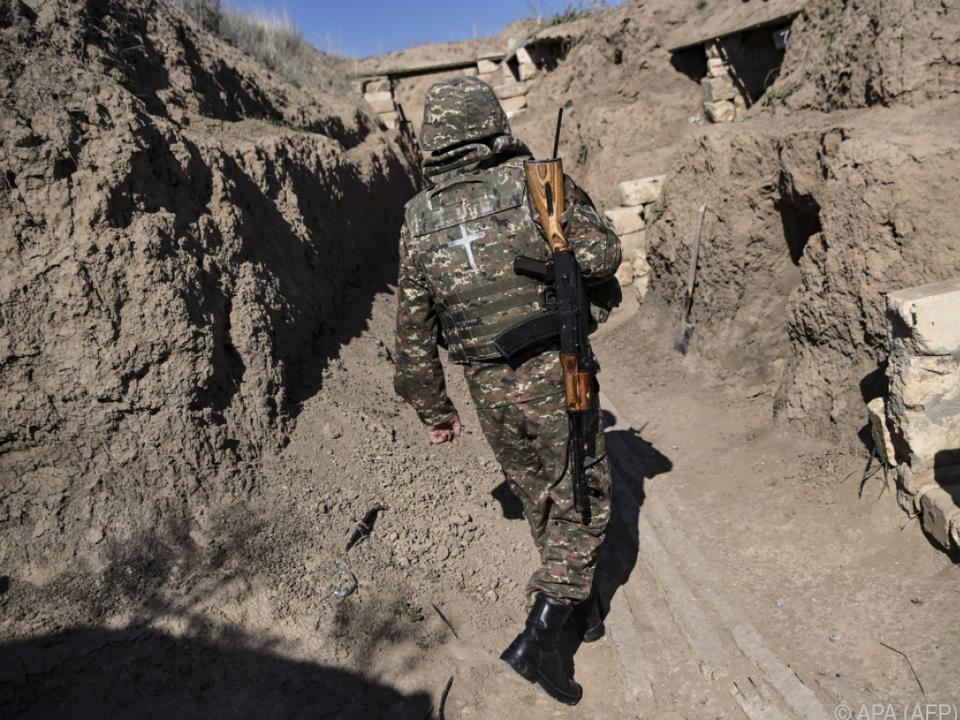 Soldat in der umkämpften Region Berg-Karabach