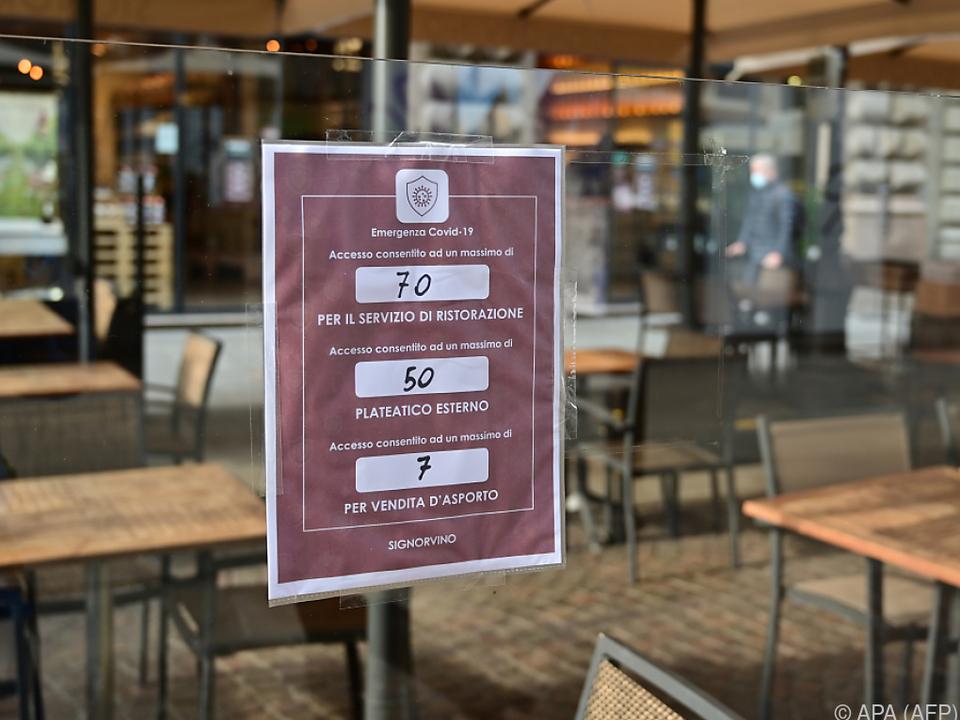 Strenge Regeln für die Gastronomie in Italien