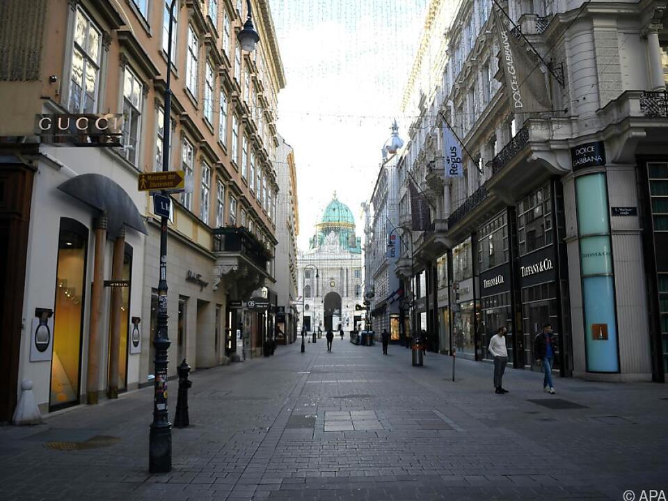 Die Straßen der Wiener Innenstadt sind wie leergefegt