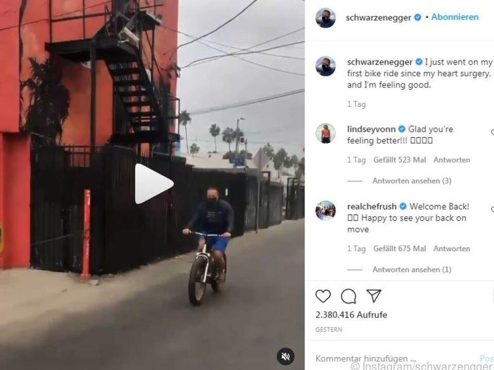 Schwarzenegger postete auf Instagram ein Video seiner Radtour