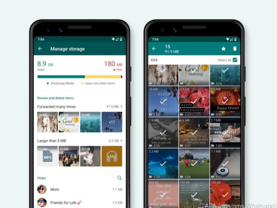 Whatsapp schlägt nun selbst Inhalte vor, die gelöscht werden könnten