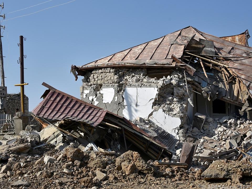 Zerstörte Häuser in Schuschi