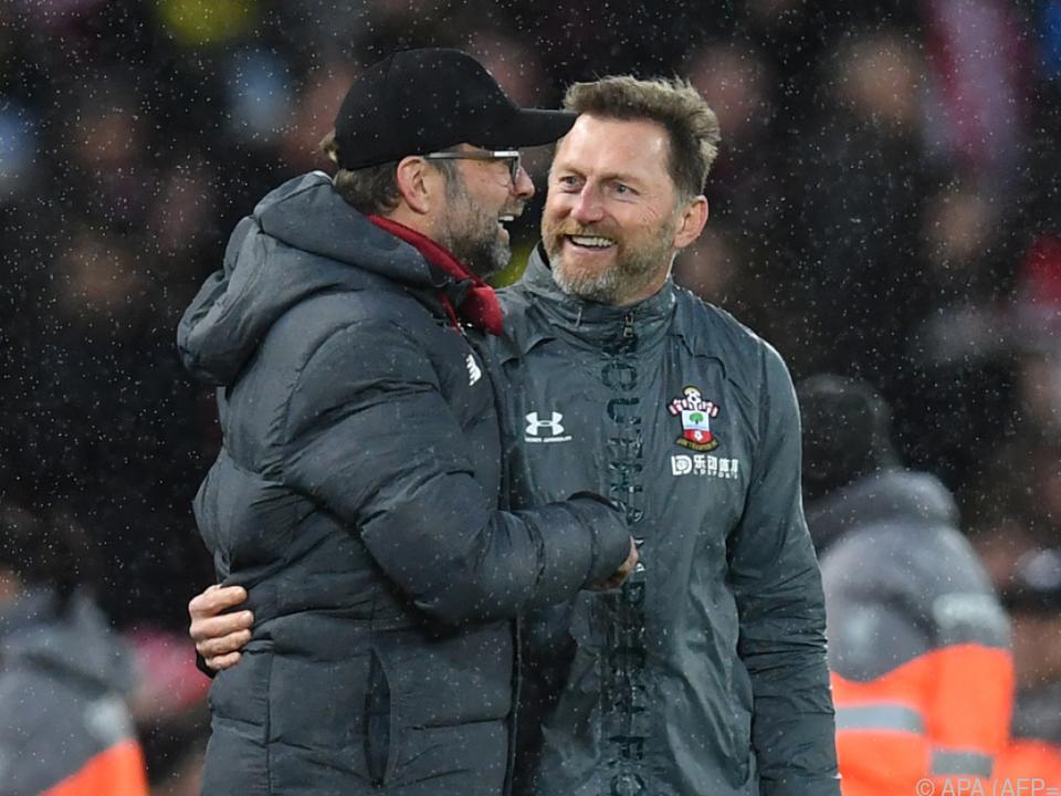 Southampton-Trainer Ralph Hasenhüttl und Liverpools Jürgen Klopp