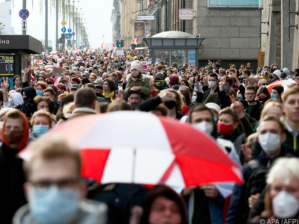 Erneut gingen viele gegen Lukaschenko auf die Straße