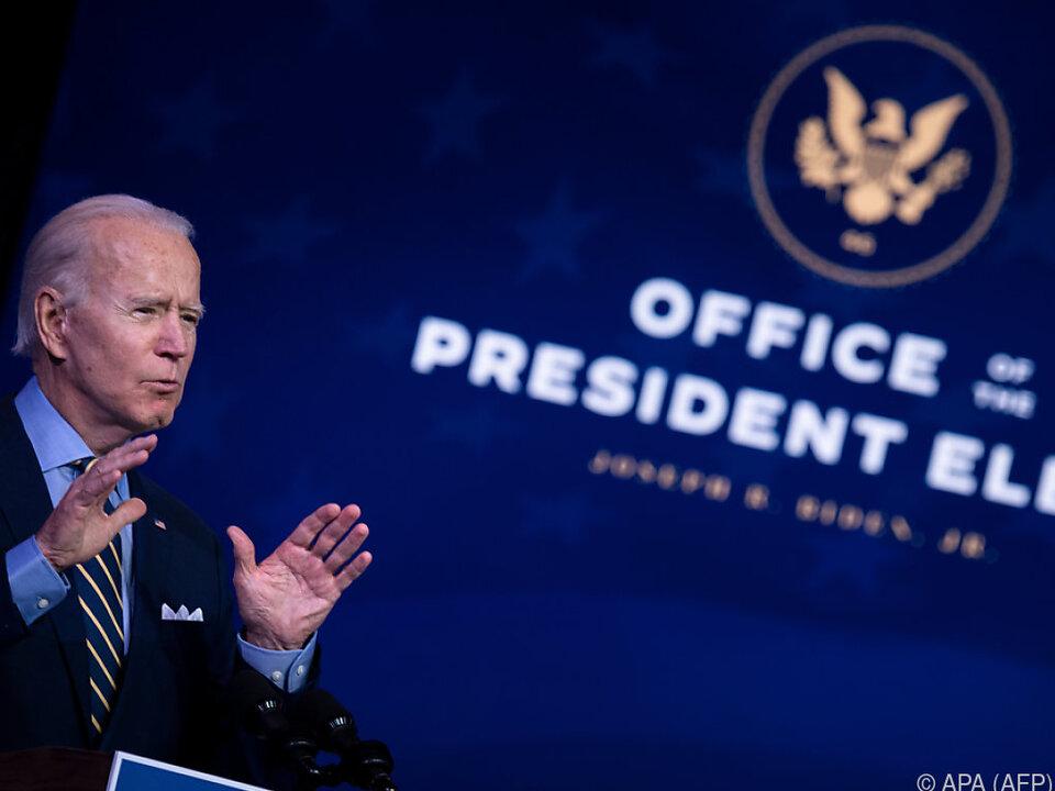 Biden übernimmt in gut drei Wochen das US-Präsidentenamt