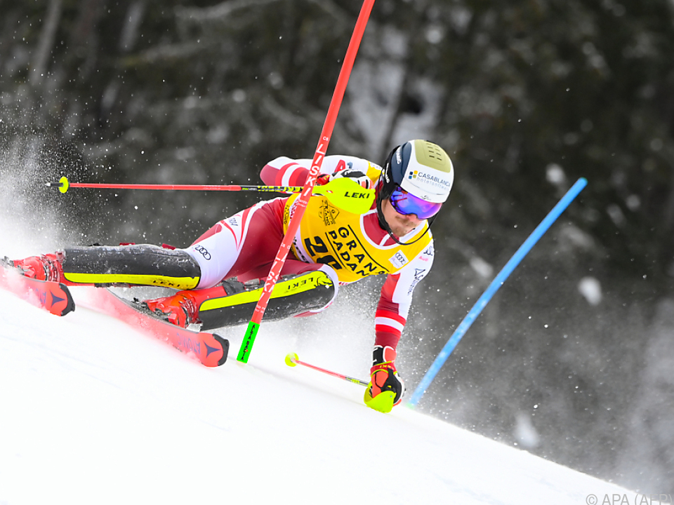 Manuel Feller in Alta Badia auf Weg zu Slalom-Rang zwei