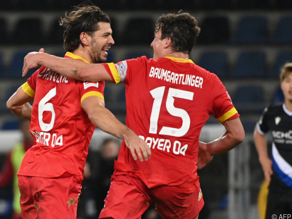 Im Jubelmodus: Leverkusen-Legionäre Baumgartlinger und Dragovic