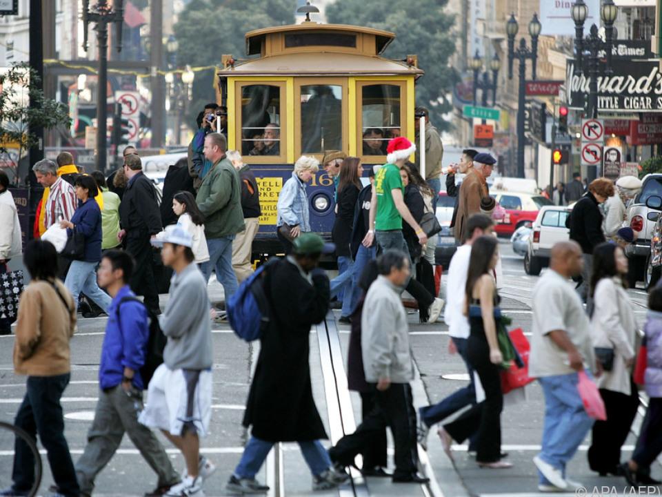 Einkaufsstraße in San Francisco am Heiligen Abend