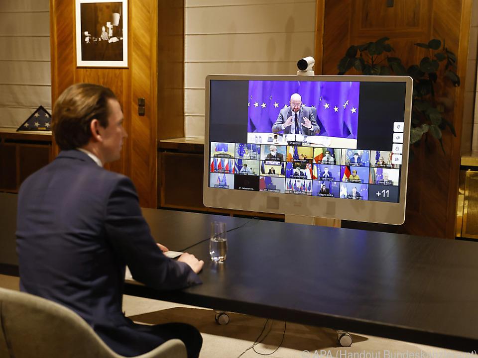Bundeskanzler Kurz bei EU-Videogipfel