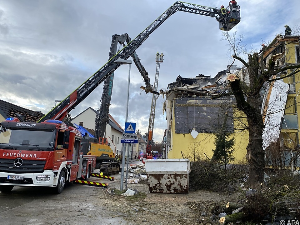 Der Ort der in Langenzersdorf bewusst herbeigeführten Explosion