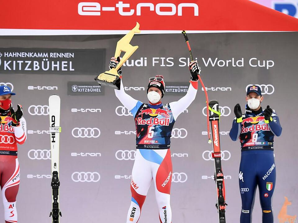 Feuz gewann Kitz-Abfahrt vor Mayer (li.) und Paris
