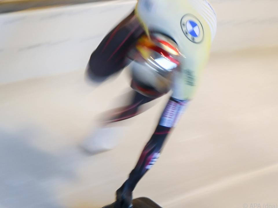 Janine Flock beim Skeleton-Weltcup in Königssee
