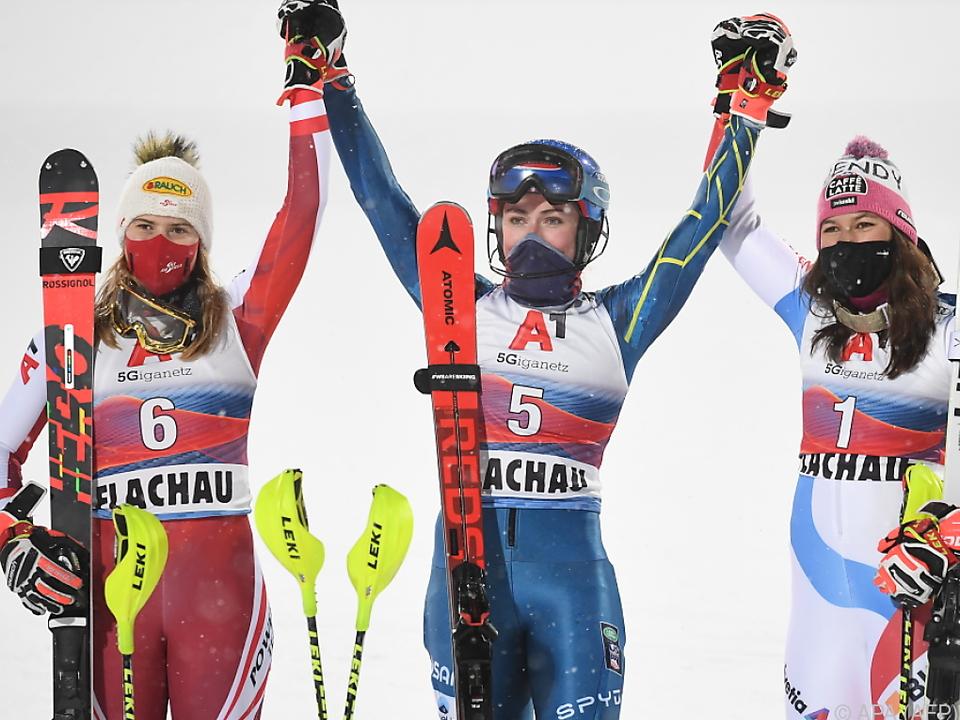 Liensberger, Siegerin Shiffrin und Holdener nach Slalom in Flachau