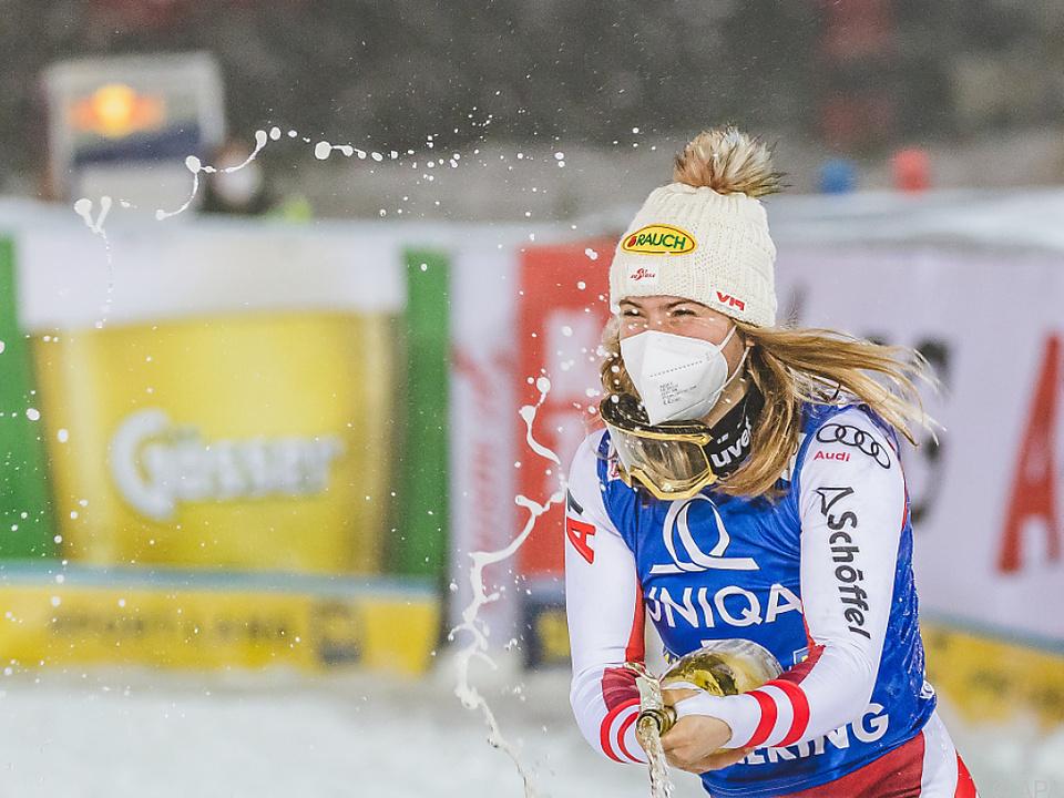 Liensberger ist auch im Slalom von Zagreb für Podest gut
