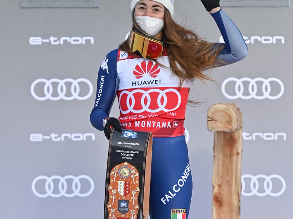 Sofia Goggia gewnan in Crans Montana ihre dritte Abfahrt in Folge