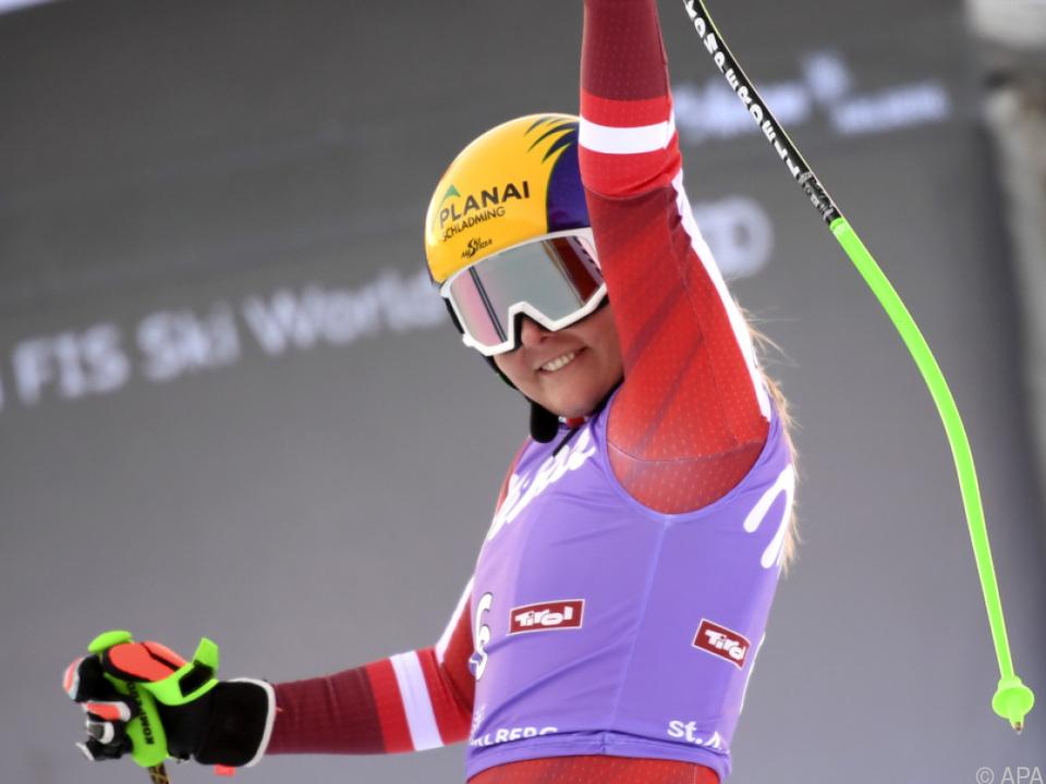 Tamara Tippler nach dem Super-G in St. Anton