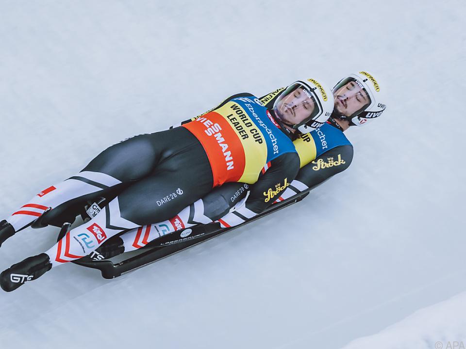 Steu/Koller in Innsbruck-Igls auf dem Weg zu Platz drei