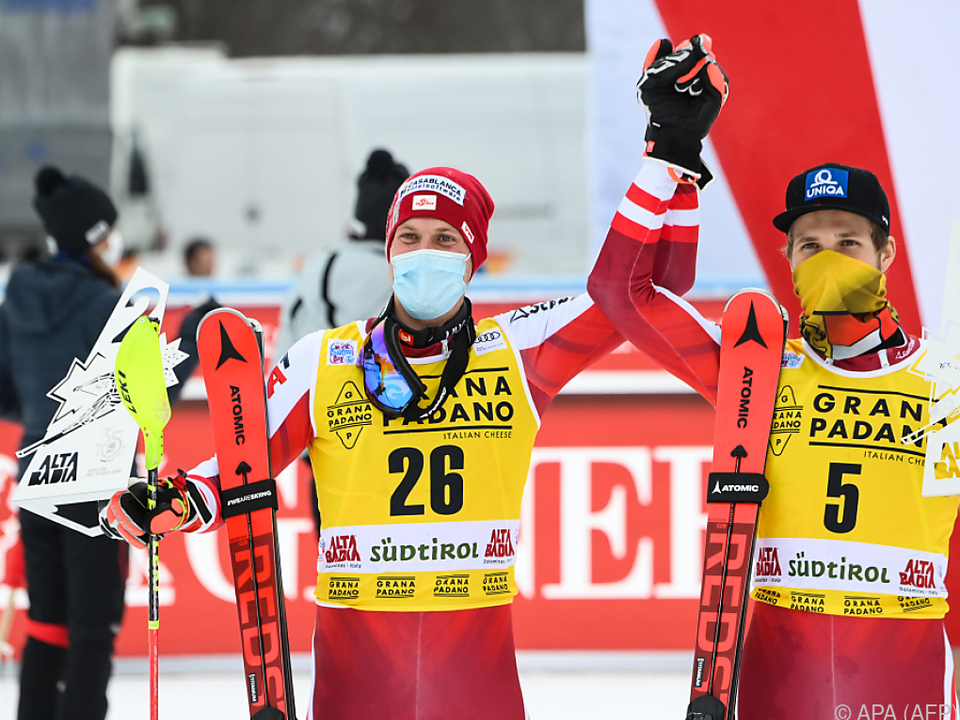 Feller (l.) und Schwarz in Alta Badia gemeinsam auf dem Podest