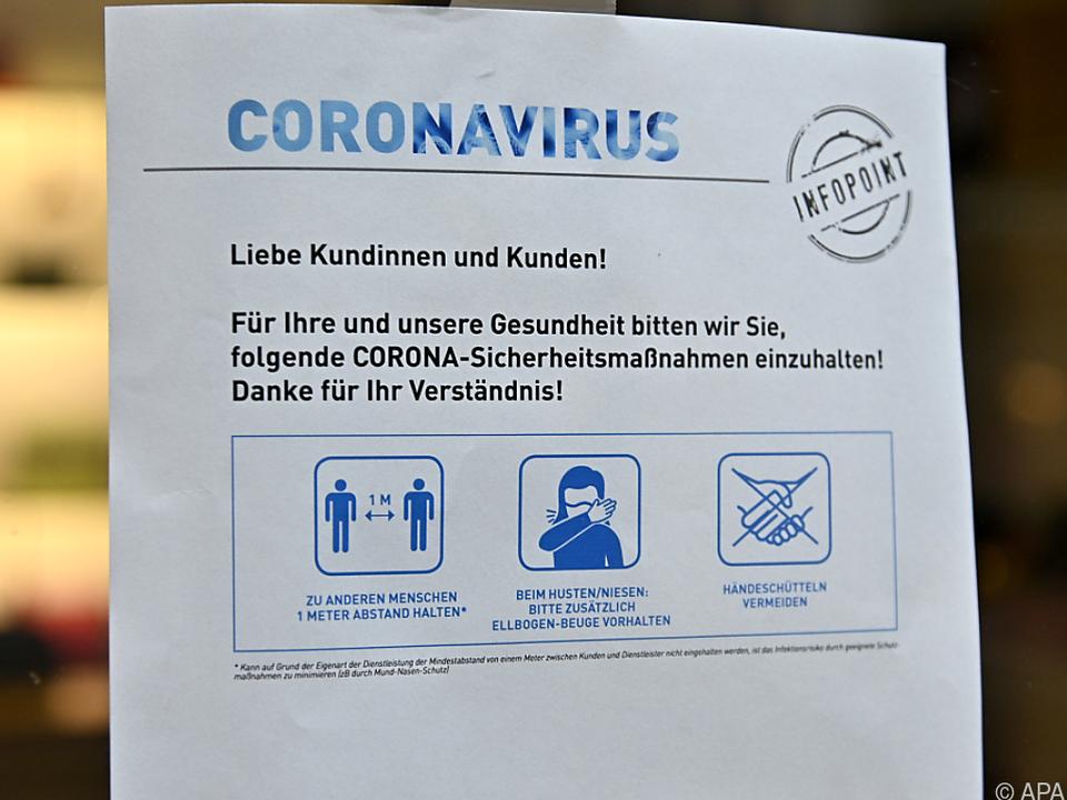 Hinweise zu Corona-Sicherheitsmaßnahmen