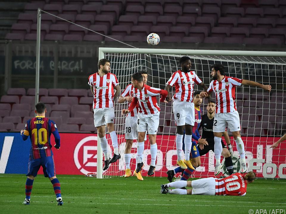 Bilbaos Bemühungen waren bei Messis Freistoß vergebens